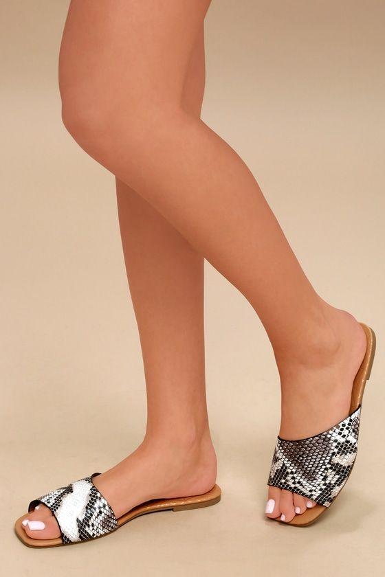 5f6a0ba900d6 Remi Black and White Snake Print Slide Sandals 5