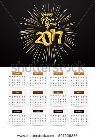 Design Calendar for 2017 on white background, with fireworks and golden text isolated on black background, vector elements for calendar 2017.