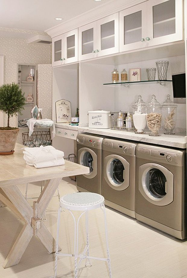 laundry room I like the concept of one washing machine and two dryers. Much more…
