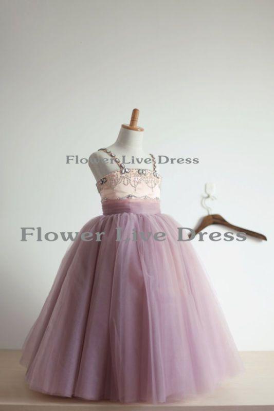 Nuevo Vestido con cuentas de Tul Tutú De Flores Niña Vestido Niños Junior De Dama De Honor Vestidos Boda