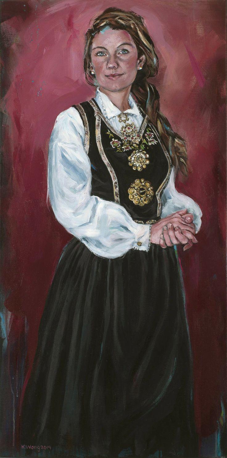 Cecilie med fløyelsliv fra Vest-Telemark. Kari Wang maleri. Akryl på lerret 50 x 100 cm.
