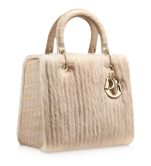 DIOR Ribbed mink and matt beige crocodile bag