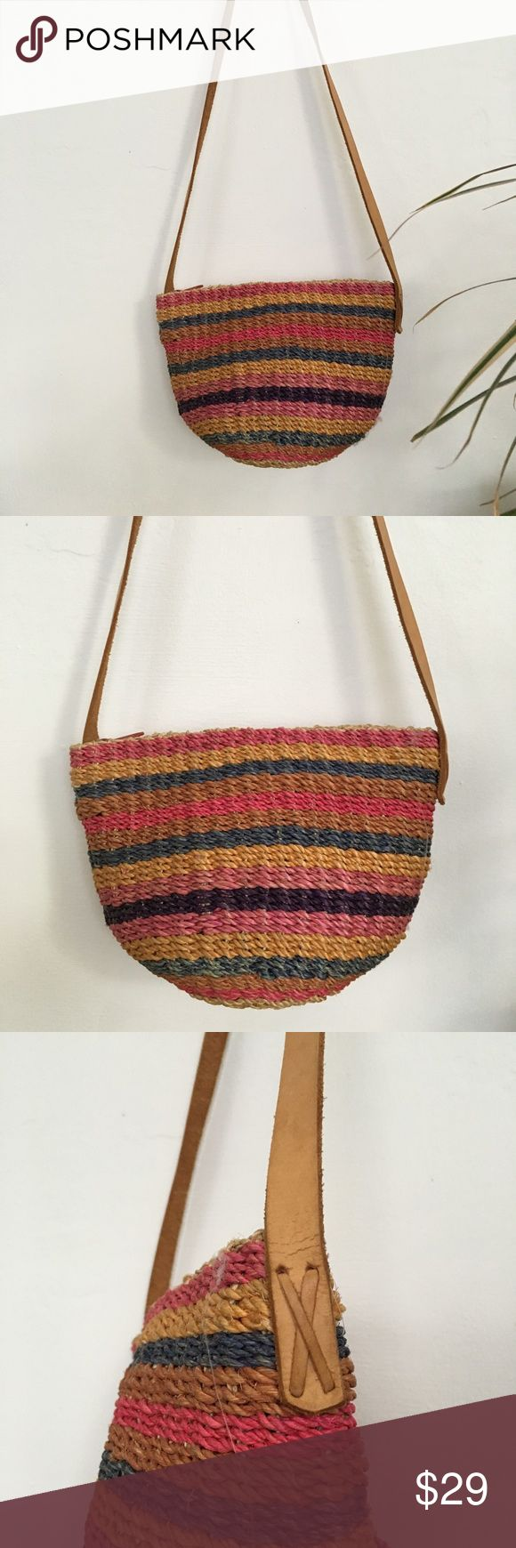 VINTAGE Woven Beach Bag Vintage Woven raffia/cotton beach bag in shades of pink, blue and yellow. Vintage Bags Mini Bags
