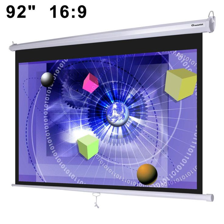 "Instahibit™ 92"" 16:9 Pull Down Projector Screen Wall Mounted"