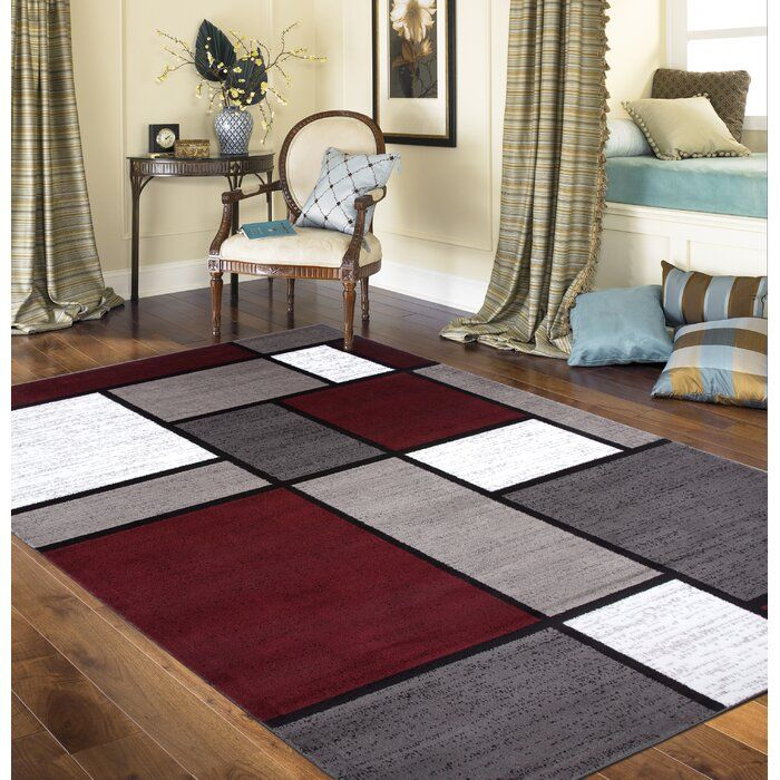 Maroon Grey And White Living Room: Brampt Geometric Red Area Rug In 2020