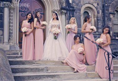 Long Pink Bridesmaids Dresses, Pale Pink Bridesmaids Dresses, Zuhair Murad Princess Wedding Dress | ElegantWedding.ca