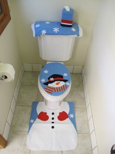 4 Pcs Christmas Santa Bathroom Toilet Seat Cover And Rug