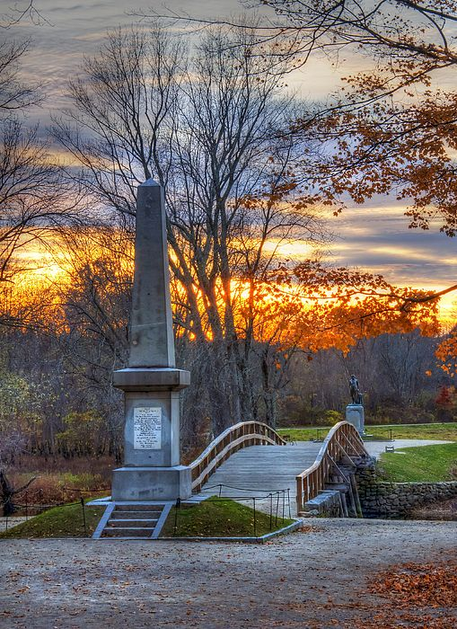 """North Bridge in Concord, MA - famous for the """"shot heard 'round the world,"""" & the monument built in 1836 commemorating the battle in 1775.   These grounds are where local Minutemen experienced their 1st American Revolutionary War victory by forcing the British to retreat back to Boston on April 19, 1775.  #RevolutionaryWar"""