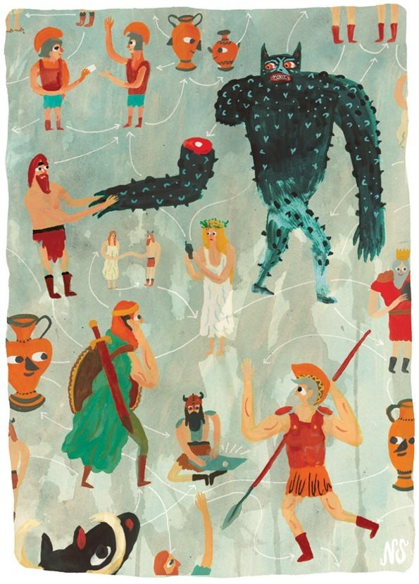 If you're finding that your Monday is lacking in mystery (don't they always?) allow me to introduce you to Nicholas Stevenson, an illustrator who practically daubs it onto his pages as he draws. Preferred subjects include long-armed humans, giant beasts, secret trapdoors and food fights, all of which are endowed with an equal measure of fantasy the likes of which doesn't often exist beyond the pages of children's books and the odd Wicca community.