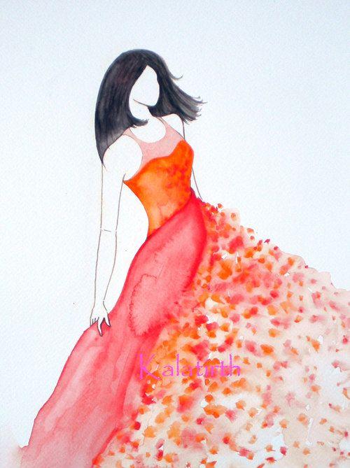 Fashion illustration in watercolor  Chiffon in Sun by Kalatirth, $50.00