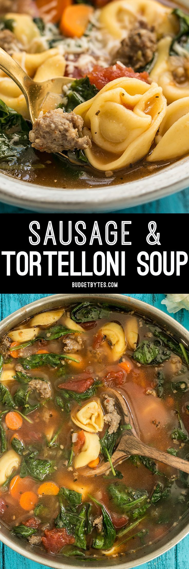 This light but filling vegetable packed Sausage and Tortelloni soup is the perfect lunch for fall. Pair with crusty bread for dipping!