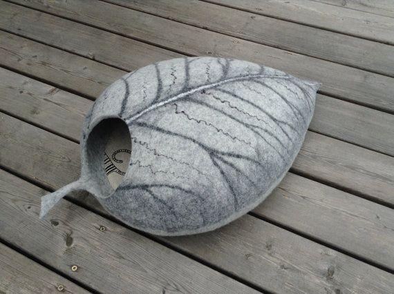 Chat lit protection grotte/cat house/gris feuille/feutrée cat cave (pad avec cadeau)