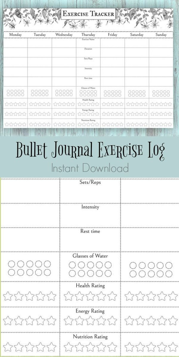 Because summer Bullet journal workout log Bujo fitness spread