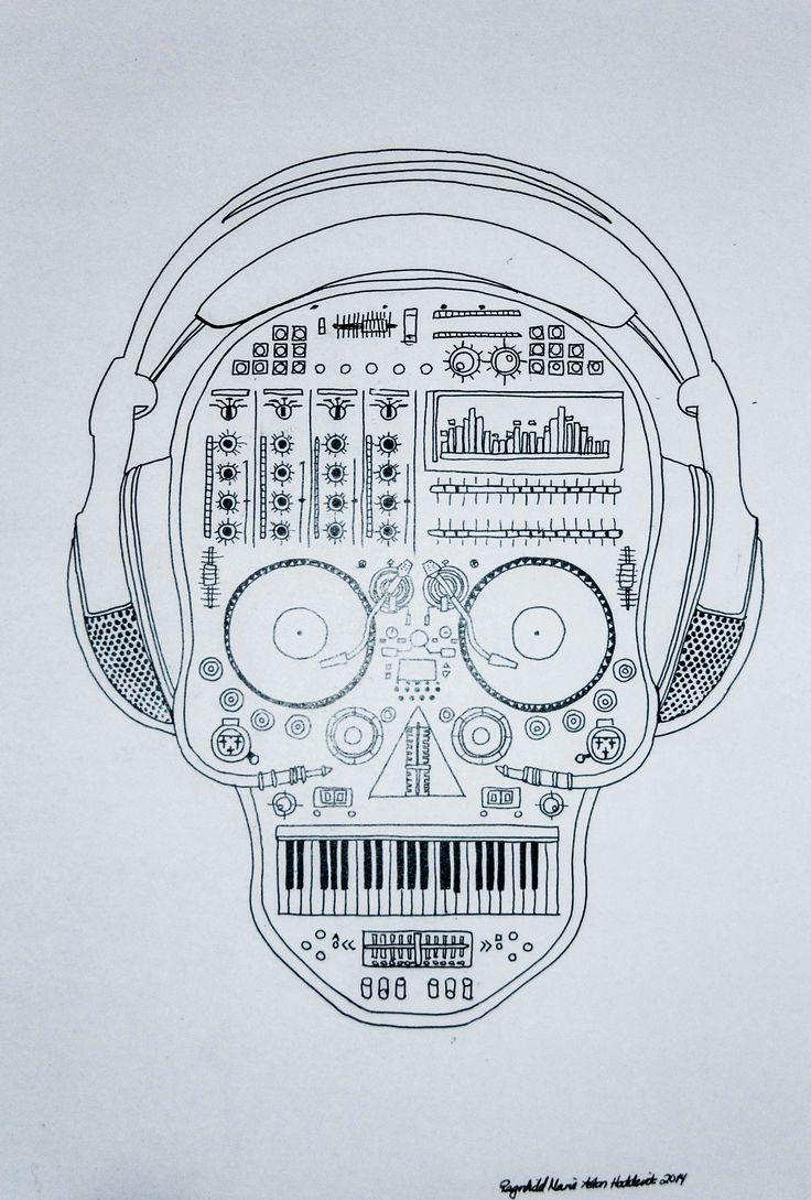 Lineart by Ragnhild Marie Aston Hoddevik @ https://www.etsy.com/no-en/shop/Rampestreken - Follow on Pinterest, Instagram, Weheartit, Tumblr and Facebook  #lineart #headset #music #inspiration #life #Vinyl #records #dj #keyboard #synth #rampestreken