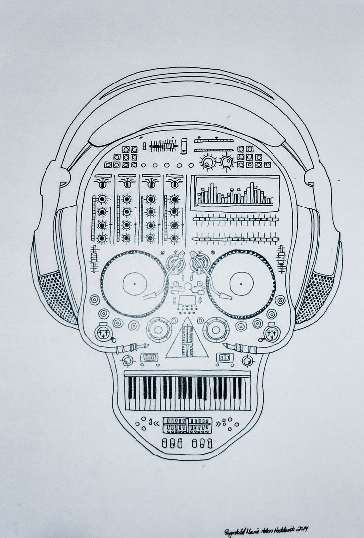 Lineart by Ragnhild Marie Aston Hoddevik @ https://www.etsy.com/no-en/shop/Rampestreken - Follow on Pinterest, Instagram, Weheartit, Tumblr and Facebook  #lineart #headset #music #inspiration #life #Vinyl #records #dj #keyboard #synth #rampestreken