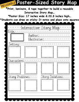 Print, laminate, and assemble this file into a poster sized story map. Children can draw on sticky notes to represent story elements and place them onto the squares on the template. Write and draw on the template with a dry or wet erase marker. Book pieces can also be created using sticky notes to help children identify and sort story elements.
