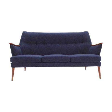 Blue Scandinavian Mid Century Sofa