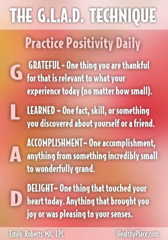"""""""Don't let negative thoughts take over your mind and your self-confidence. Try the G.L.A.D. technique to help you live a more positive and confident life."""" www.HealthyPlace.com"""