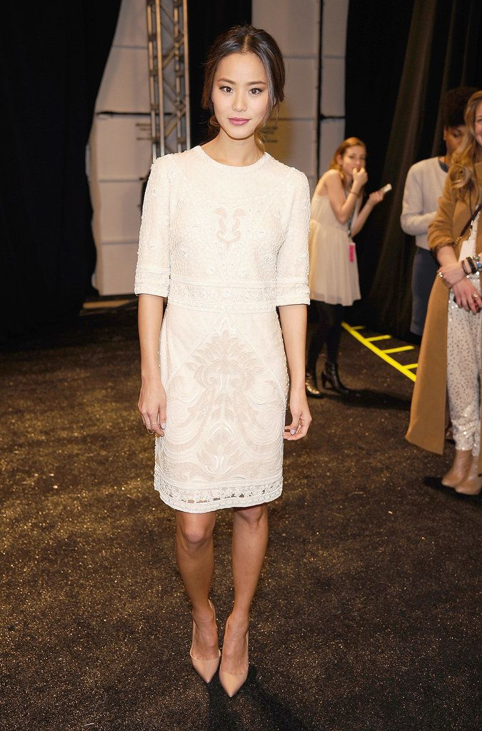 Jamie Chung in Spring 2014 Monique Lhuillier at Monique Lhuillier's Fall 2014 show.