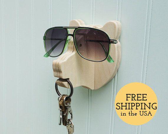 Sleutel haak - Bear hoofd wall hanger voor sleutels, bril en zonnebril - houten organisator, zonnebril houder, & belangrijke haak, Inwijdingsfeest cadeau
