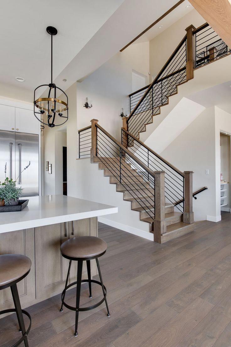 Modern Farmhouse Wood Floors Simple Staircase Black
