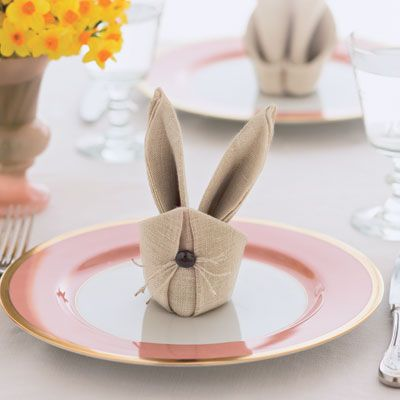 These cute-as-a-button cottontails, made from spray-starched square napkins, will energize any Easter table.