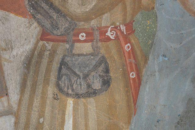 Badia di San Gemolo (Ganna, VR) Madonna della Misericordia (1471-1484), posta in fondo alla navata di destra; dettaglio