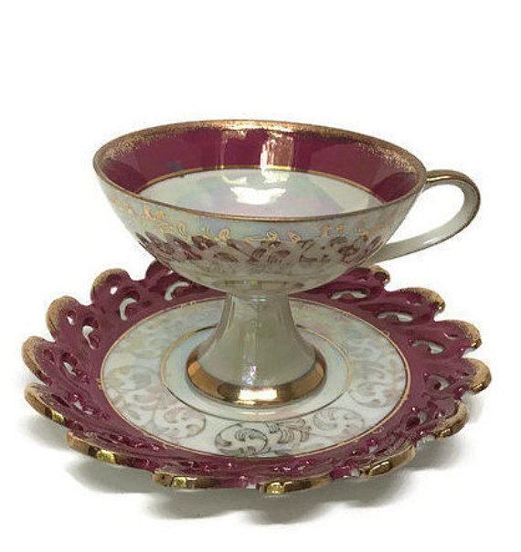 Cherry Tea Cup and Saucer - Antique and Unique Tea Cup