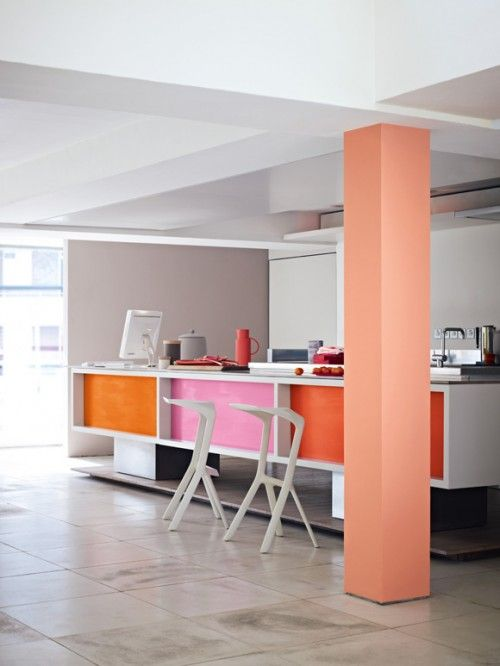 12 Kitchens with Color: Paint company Dulux introduced 'Collective Passion', its second collection from a series of five for 2013 . The fluoro tones make for fun panels on a kitchen island.