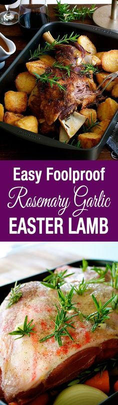 Slow Roasted Rosemary Garlic Lamb Shoulder - cheaper, tastier and easier to make than a leg of lamb. Infused with garlic and rosemary, so tender you don't need a carving knife.