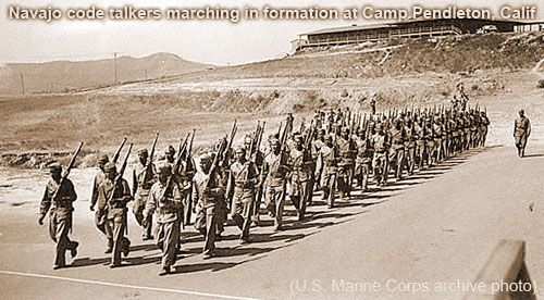 Navajo code talkers, Camp Pendleton, CA., USMC official photo.