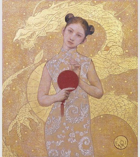 「China Girl」・10P(2016年)アクリック・油彩・金箔・金泥 リオオリンピック卓球日本女子の福原愛ちゃんを見ていて「卓球少女」を発想した。