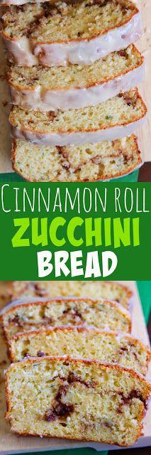 Cinnamon Roll Zucchini Bread - A moist quick bread with a gooey cinnamon sugar swirl.