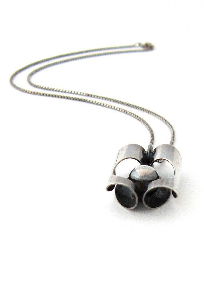 Modernist Pendant | Kupittaan Kulta and Elis Kauppi (Finland). 'Hidden Sphere'.  Sterling silver.