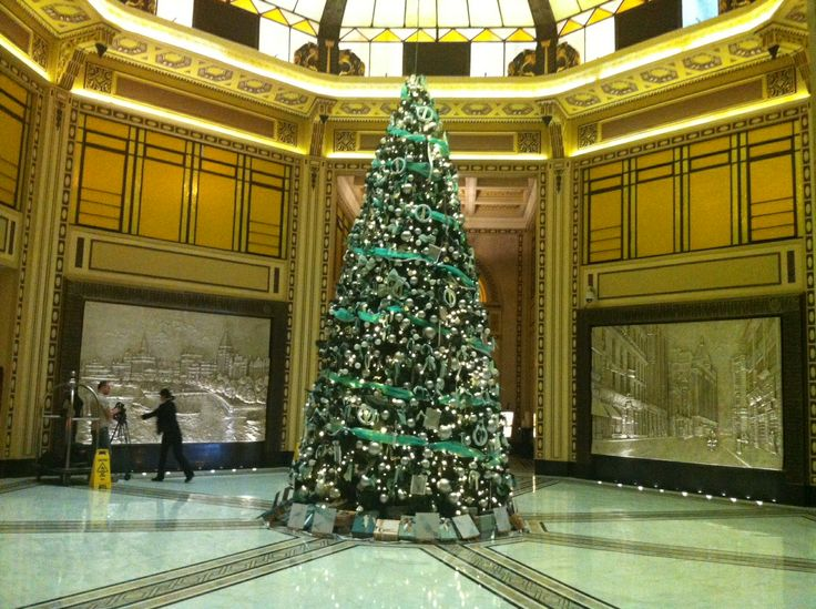 Setting up to film the stunning Tiffany blue Christmas Tree at The Peace Hotel Shanghai.