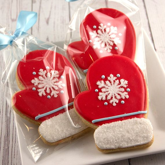 Mitten Christmas Cookies, Holiday Cookies  - 12 Decorated Sugar Cookies