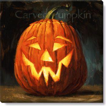 Carved Pumpkin Canvas Halloween by Darren Gygi