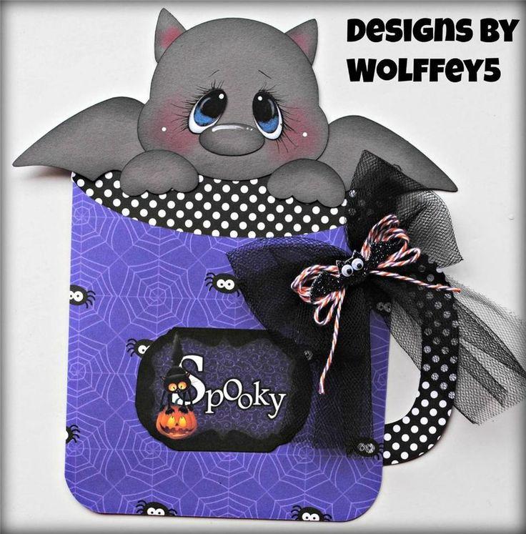 ELITE4U HALLOWEEN GIFT HOLDER  paper piecing premade scrapbook page  WOLFFEY5
