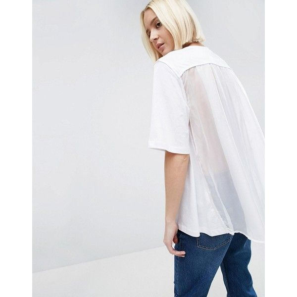 ASOS WHITE Tulle Cape Back T-Shirt ($28) ❤ liked on Polyvore featuring tops, t-shirts, white, white sheer top, crew-neck tee, white crew t shirt, white crew neck t shirt and white t shirt
