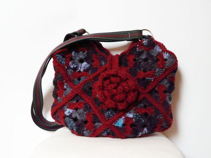 Crochet bag Shoulderbag purse claret blue leather strap