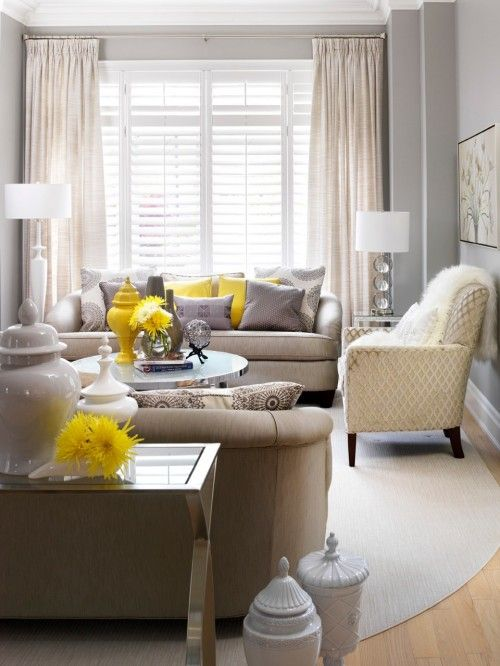 puppy nook: Living Rooms, Color Schemes, Wall Color, Pop Of Color, Grey Wall, Grey Yellow, Contemporary Living, Yellow Accent, Gray Wall
