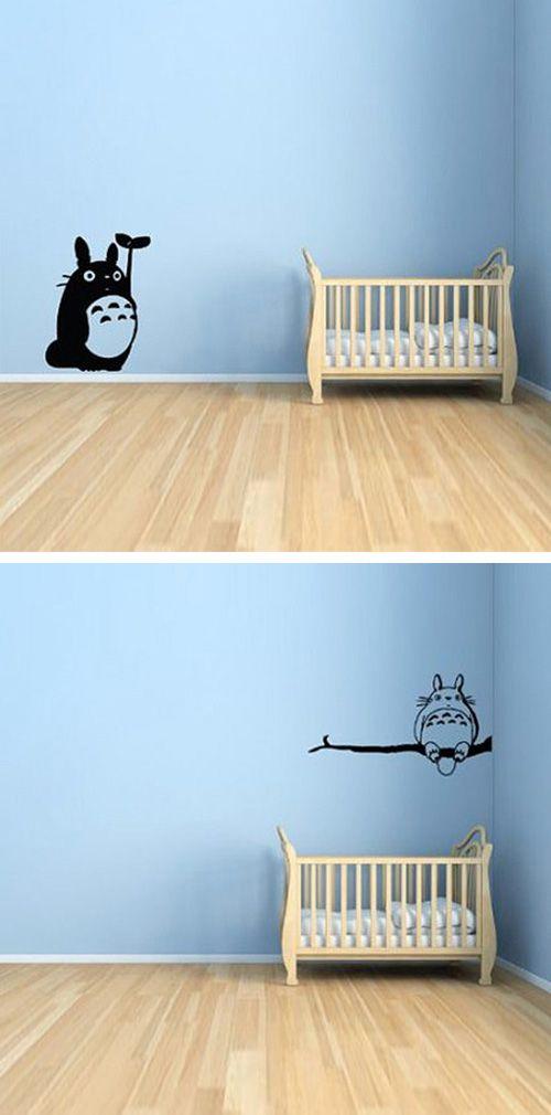 Totoro Wall Decal    dotandbo.com  Whenever I have a kid, I love the idea of a Totoro/Ghibili theme. :)