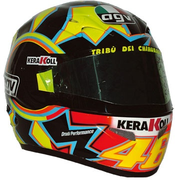 2003 - This awesome design was the primary helmet that Valentino Rossi wore throughout the 2003 season.