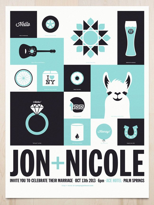Awesome wedding poster as invite, created by the groom