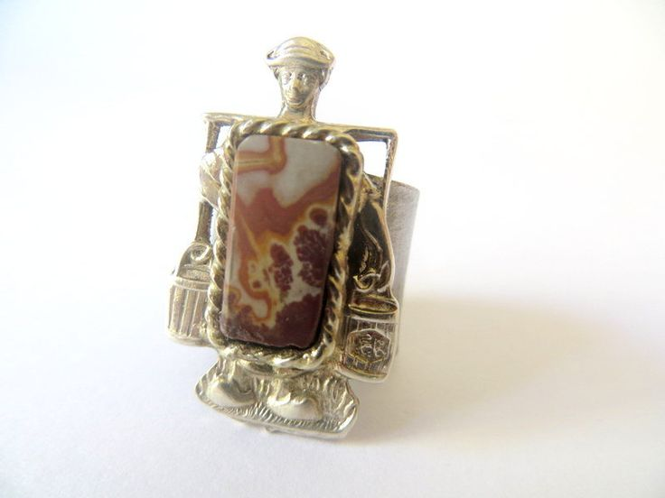 Milk Maid Ring. Upcycled antique and jasper by Picossa on Etsy