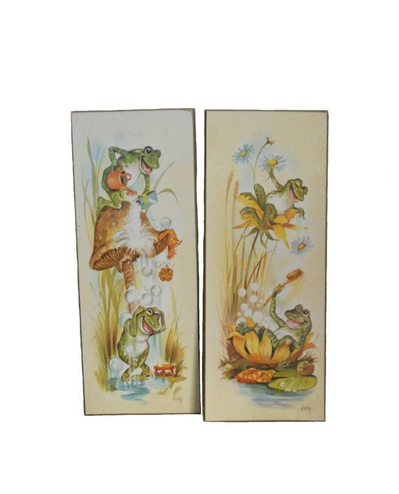 Frog Bathroom Wall Decor : Vintage wall art bathing frogs bathroom plaques by coby