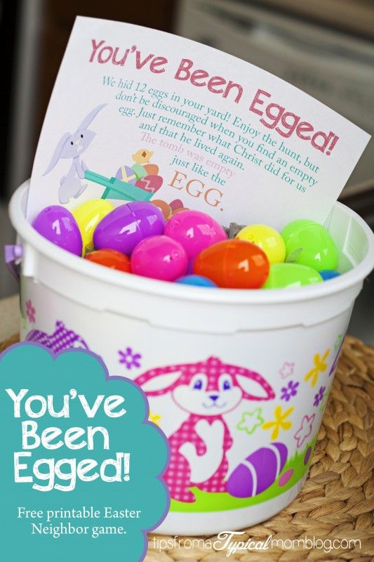 """You've Been Egged""- #Free #Printable Neighbor Easter Game. This is a fun surpise for neighbours....."