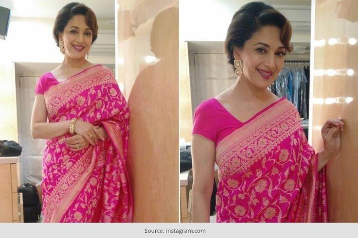 #MadhuriDixit Banaras Saree by Ritu Kumar   #Celebs #Bollywood