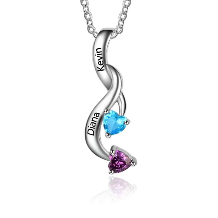 Post Included Aus Wide and to most international countries! >>>  Swirling Hearts Double Birthstone Necklace - 925 Sterling Silver