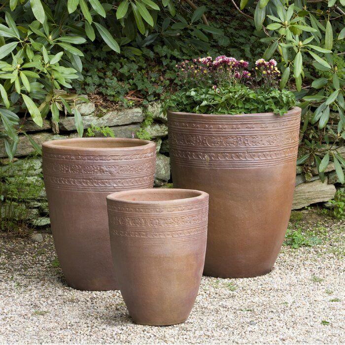 Sari 3 Piece Terracotta Pot Planter Set In 2020 Terracotta Pots Planters Planter Pots